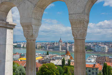 View through the arches at the Fisherman's Bastion Budapest Hung