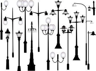 set of black morden street lamps