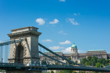 Chain bridge Budapest Hungary with old castle palace in the back