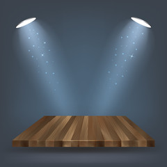 wooden  shelf , stand with lighting vector illustration