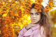 Fashion trendy beauty girl autumn portrait. Brunette woman over