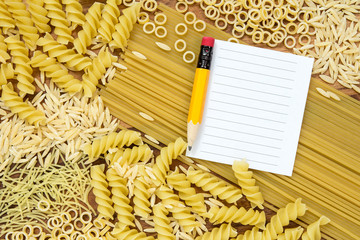 Pasta and blank paper for recipe
