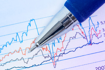 Financial graphs and pen