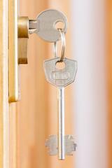 Door lock with keys macro shot