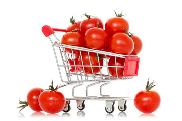 Shopping cart full of tomatoes
