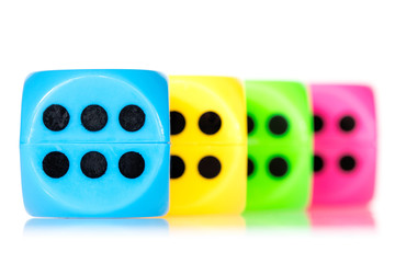Colorful dice aligned