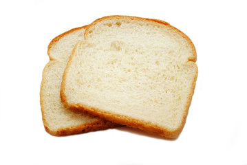 Two Slices of White Bread Isolated on White