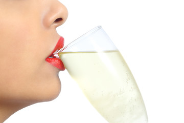 Woman lips with red lipstick drinking champagne