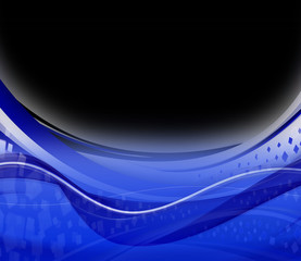Blue wave on black abstract background