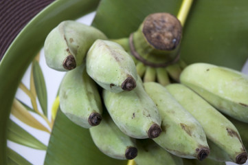 close up green banana