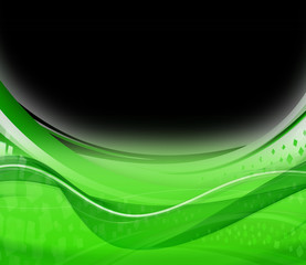 Green wave on black abstract background