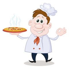 Cartoon cook chef with a hot pizza