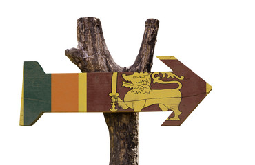 Sri Lanka wooden sign isolated on white background