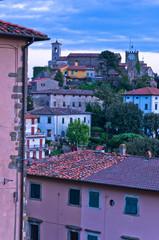 Twilight at typical Tuscany highland village