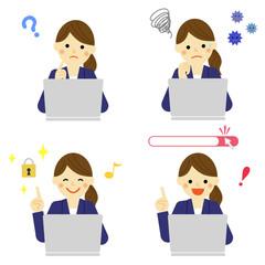 パソコンと女性社員 / vector eps10