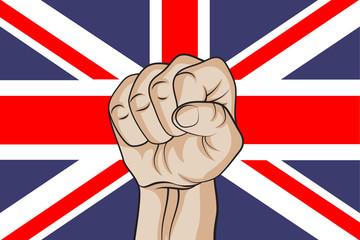 Fist against the UK flag