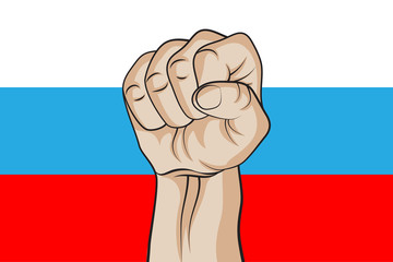 Fist against the Russian flag