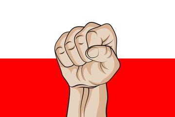 Fist against the Polish flag