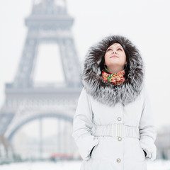 Young woman in Paris on a winter day