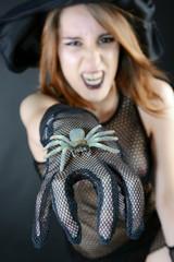 Hexe zu Halloween mit Spinne