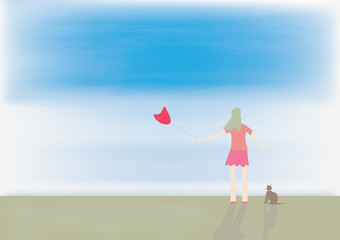 Lonely woman and cat
