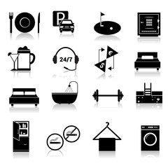 Hotel icons set black