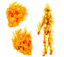 human skeleton ans skulls in flame on isolated on white