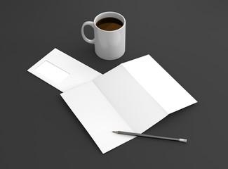 Briefpapier Tasse Kaffee weiß mit Bleistift