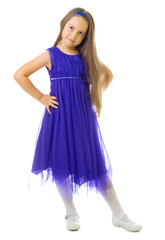 Little girl in blue dress
