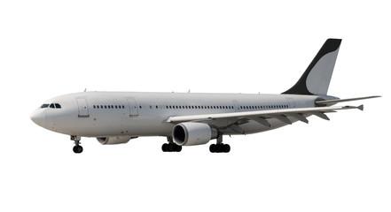 plane with dark landing gears on white
