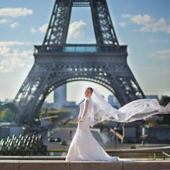 Beautiful young bride in Paris