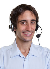 Lachender Kundenberater mit Headset