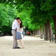 Romantic loving couple n Luxembourg garden of Paris