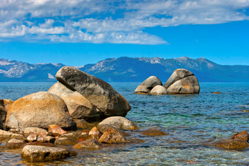 The large stones in the water at Lake Tahoe