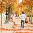 Beautiful loving couple on a fall day