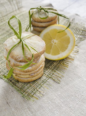 Pile of lemon sugar cookies tied up with rope