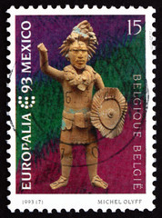 Postage stamp Belgium 1993 Mayan Statuette
