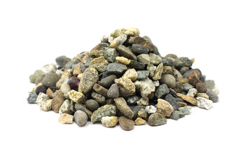 a handful of crushed stone on a white background