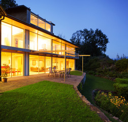 Modern villa in the night, house