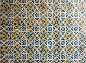 Blue and yellow tiles