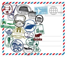Weltreise Luftpost Stempel auf weiß