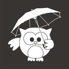 buho con paraguas BN