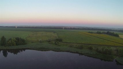 Lake  fields in morning  Aerial  landscape