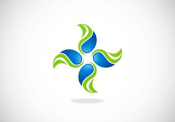 ecology circle swirl decoration vector logo