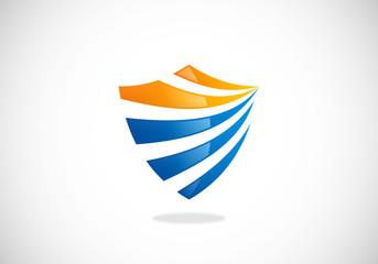shield protection stripe vector logo