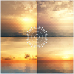Sunset mosaic vector backgrounds
