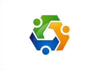 Vector Teamwork with black background Logo design