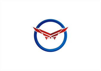 circle wings logo vector