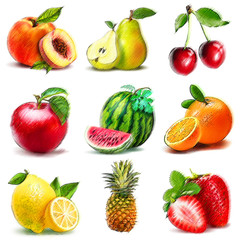 Set of fruits. Digital graphic like pastel freehand drawing.