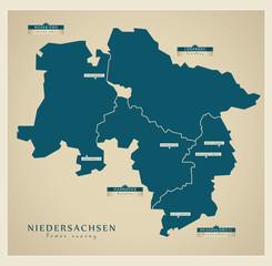 Moderne Landkarte - Niedersachsen